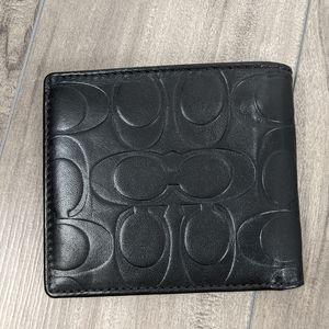 Coach Black Monogram Billfold Wallet